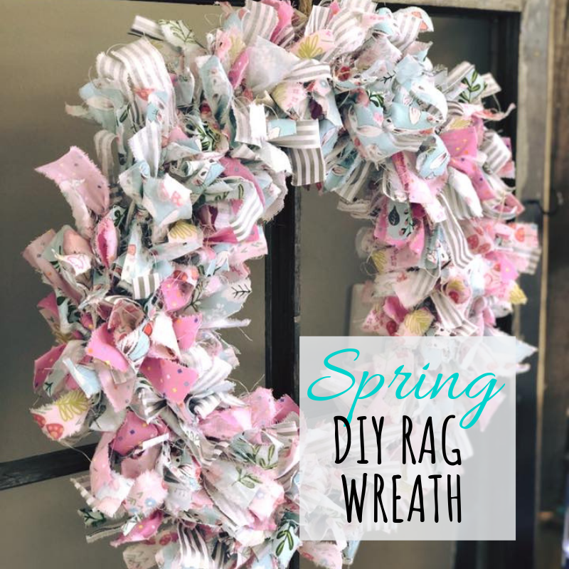 spring colored rag tie wreath. Pastel colored pieces of fabric tied to a wire wreath form for spring and Easter decor