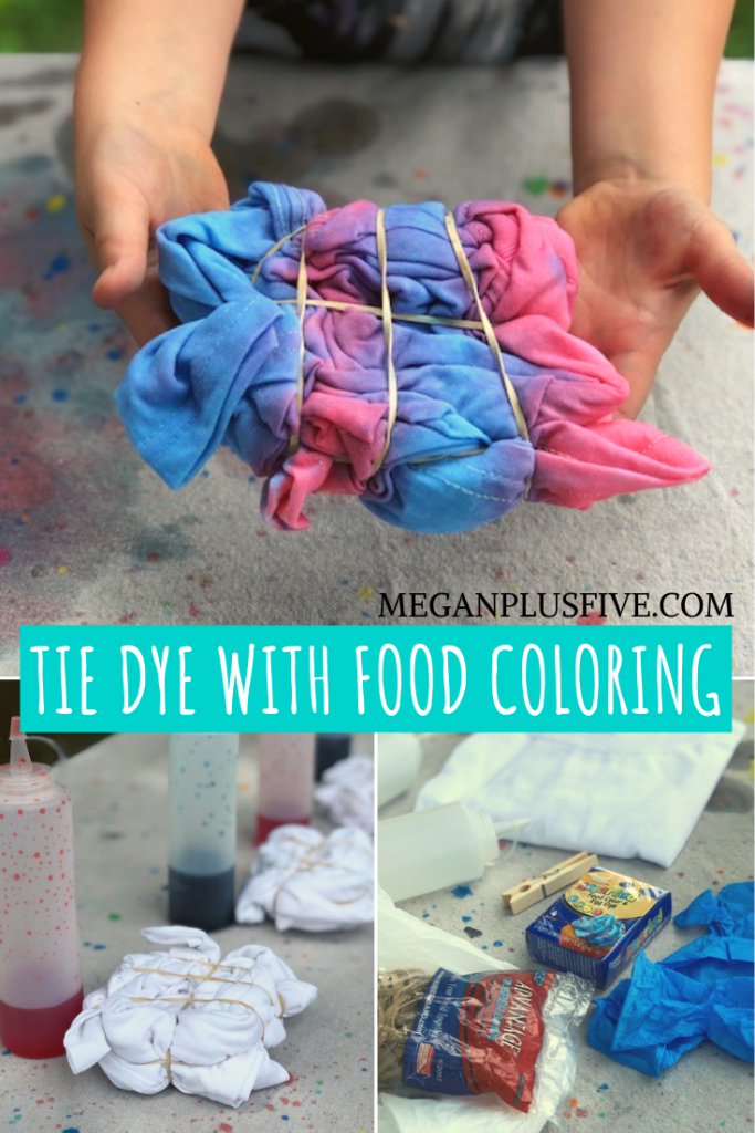 what you need to tie dye using food coloring. Little girls holing a t-shirt that is rolled and has rubber bands tie-dyed with red and blue. Supplies and materials need to tie-dye, food coloring, condiment bottles, gloves, water, white t-shirt, clothespins.