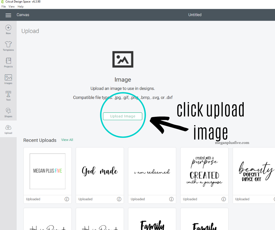Pointing where to find the upload button for SVG files in Cricut Design Space. Arrow pointing to where you can find it to access your files on the Cricut platform.