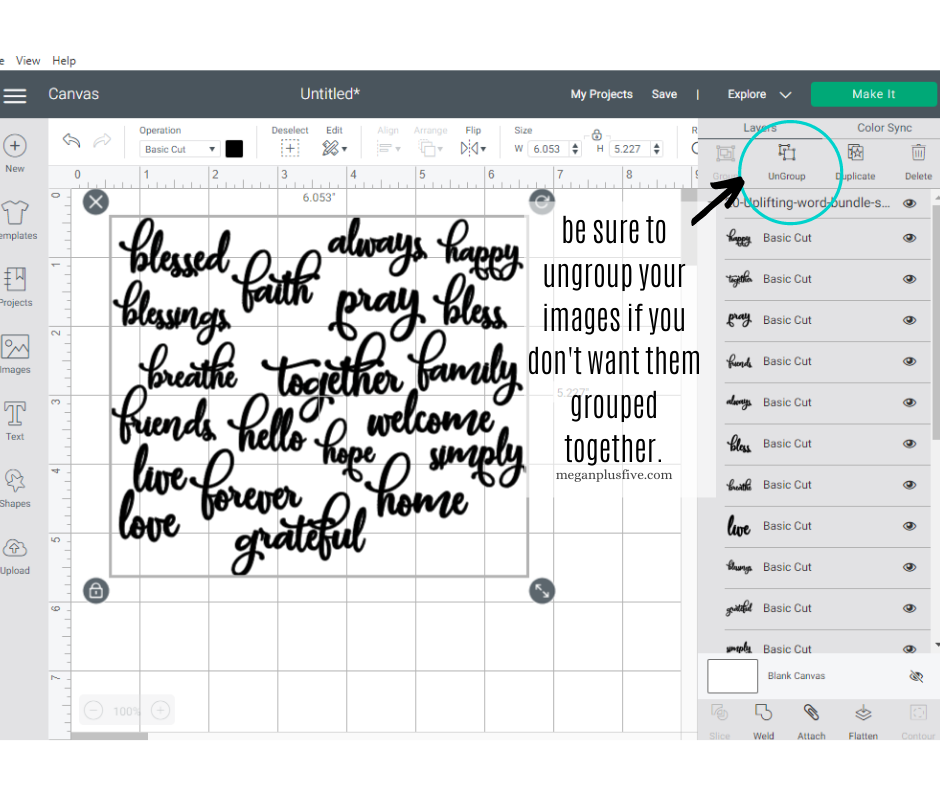 Ungrouping images in Cricut Design Space. How to ungroup and move SVG cut files apart after they are uploaded into Cricut Design Space canvas computer screen. Cursive font uplifting word bundle such as love, grateful, blessed, faith, pray, hello