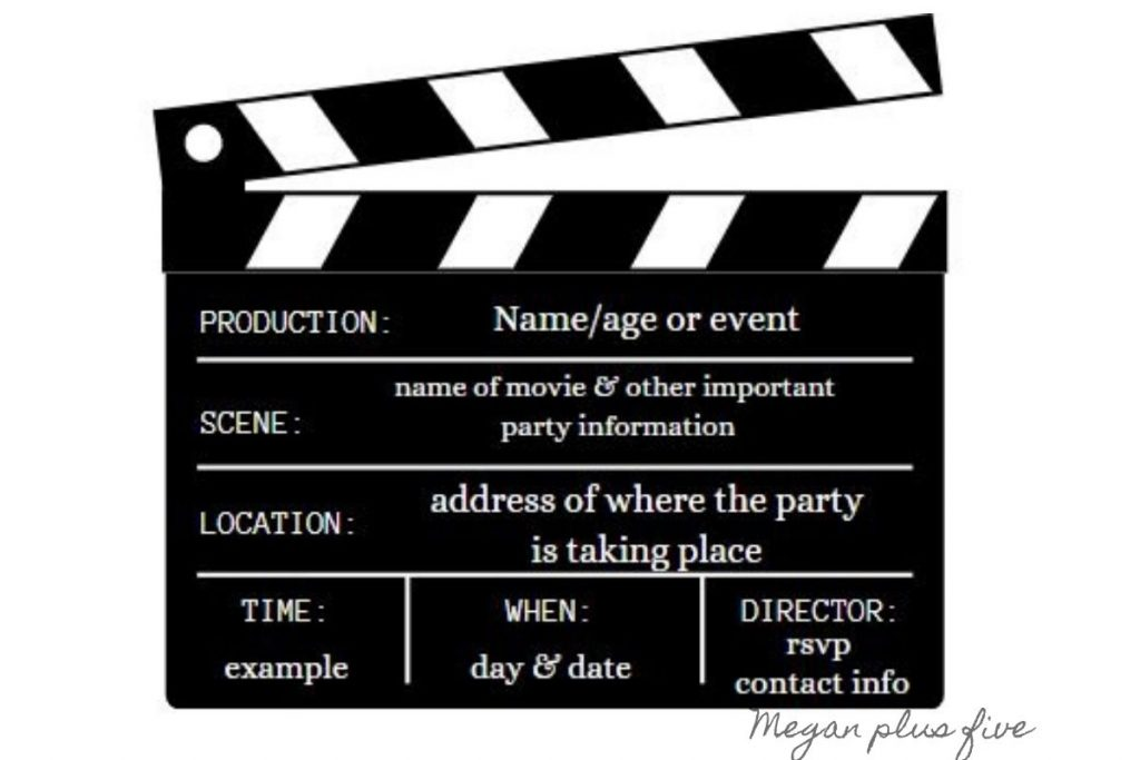 editable clapboard movie themed birthday party invitation. movie theme birthday party invite