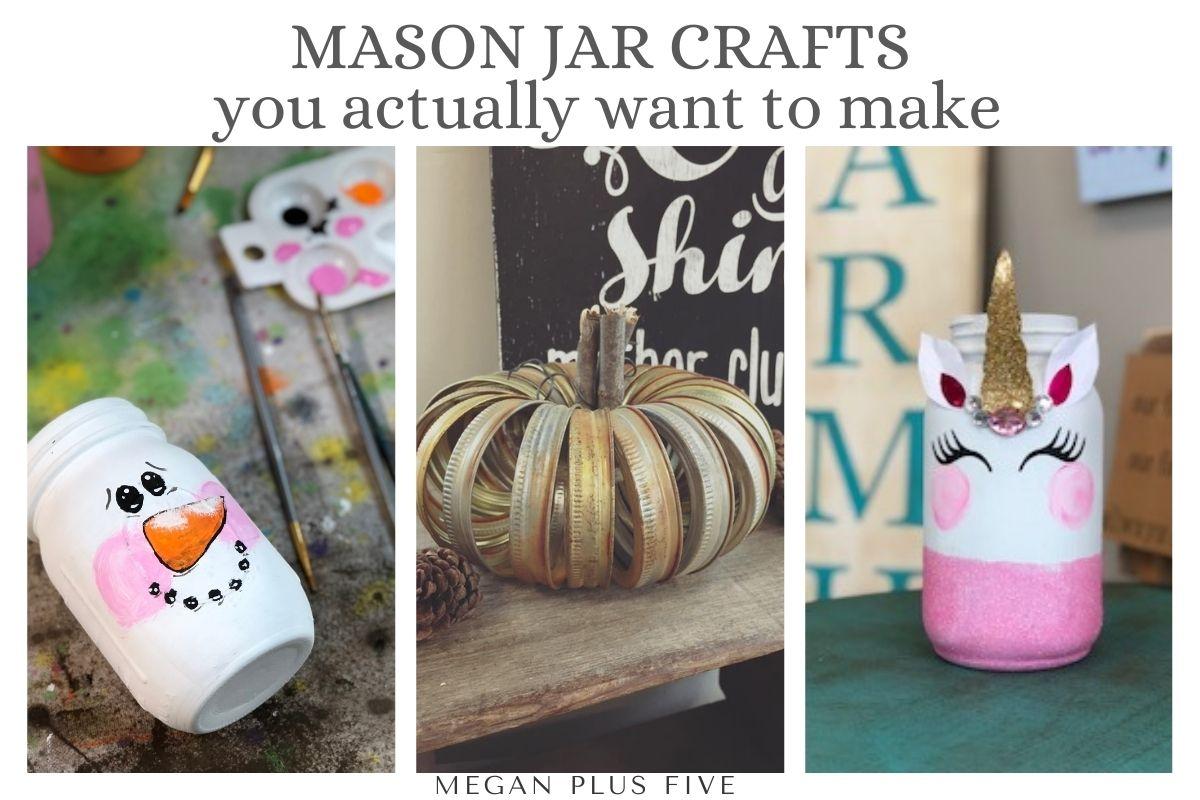 painted snowman mason jar, pumpkin made from mason jar rings, unicorn decor mason jar