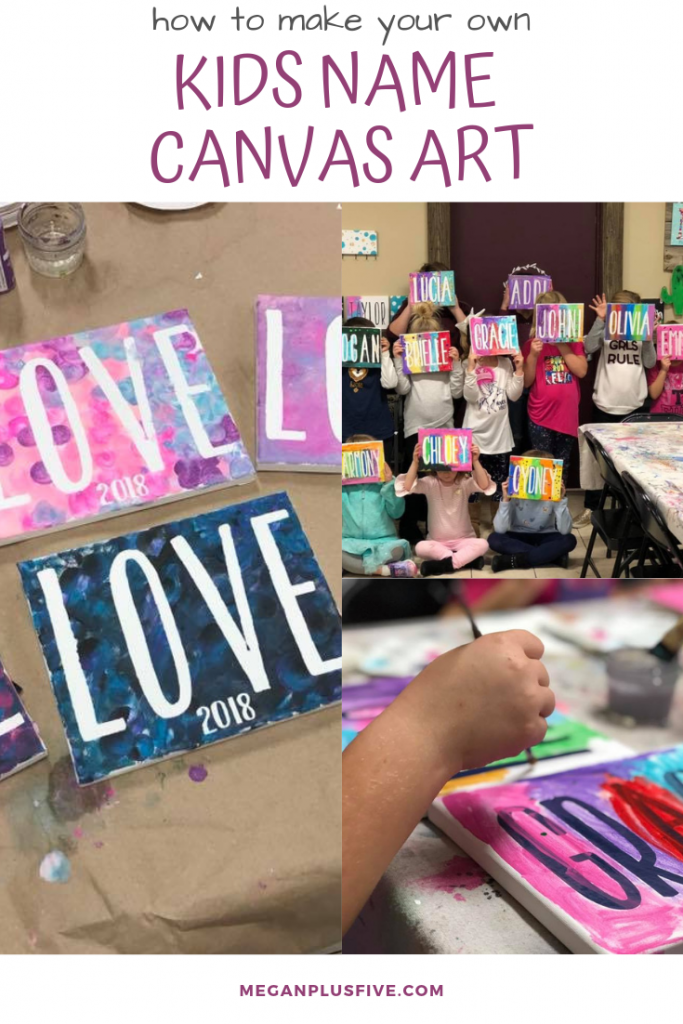 Letter and name canvas art for kids. Kids holding their personalized canvas art names over their faces in a craft room. Child's hand painting on a canvas with the name gracie. The word LOVE painted on a canvas with colorful paints