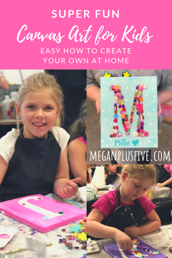 """Little girl making DIY canvas letter art for kids. Canvas is painted in pink. Letter M finished kid's art project embellished with assorted rhinestones and buttons. The name Millie is painted on the bottom of the 8""""x10"""" canvas"""