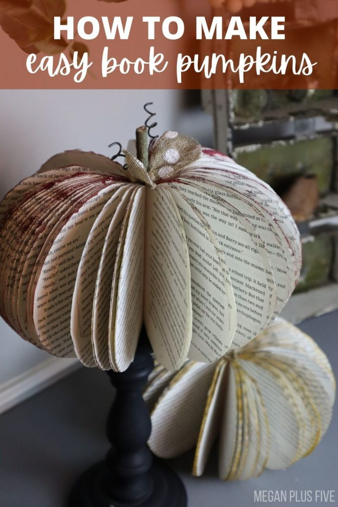 diy book pumpkins easy tutorial. 2 pumpkins made from books sitting on a table