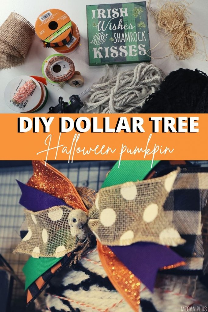 how to use Dollar Tree supplies to make a DIY pumpkin for Halloween